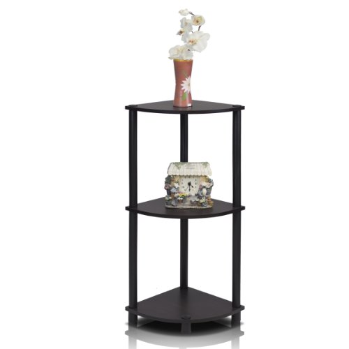 Furinno 12077EX/BK Turn N Tube Multipurpose 3 Tier Corner Shelf, Espresso/ Black