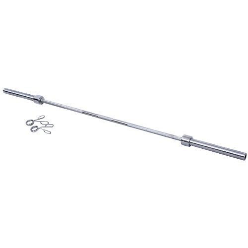 Gymax Barbell Bar 7 Feet, Gym 86 Inch Long Chrome Threaded Olympic Barbell Bars