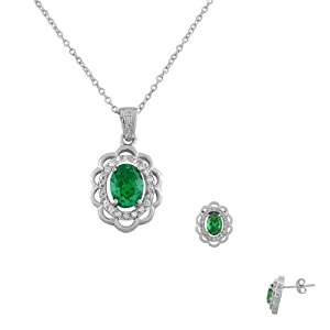 925 Sterling Silver Green-Tone White CZ Oval Charm Pendant Necklace Stud Earrings Set