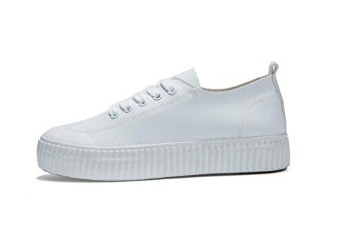 37 Nero Movimento Retro Xie Bianco 38 Shopping Studenti Spessore Bottone Libero Lady Shoes Pu Simple White Scuola 66w07Tnq