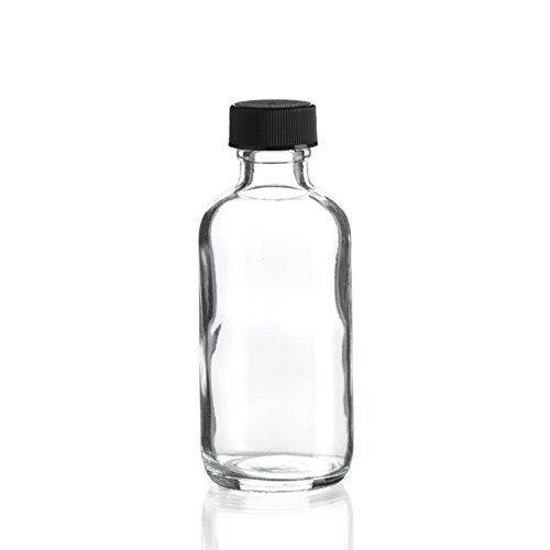 2 Oz (60 ml) CLEAR Boston Round Glass Bottle w/ Cap - Pack of 12