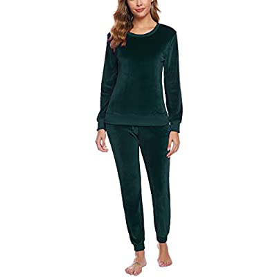 Abollria Women's Velour Sweatsuit Set 2 Piece Outfits Long Sleeve Pullover Sport Suits Tracksuits at Women's Clothing store