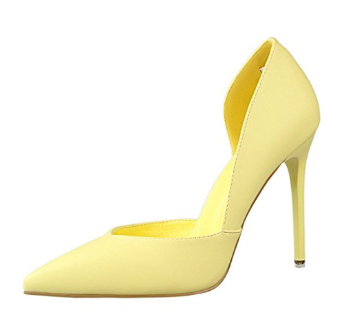 Caramelo de Pumps Atractivo Amarillo Tacón Shoes High Stiletto Shoes Mujer Dulce Primavera Minetom Clásico Colors Zapatos Court Heel HS6PqnIwx
