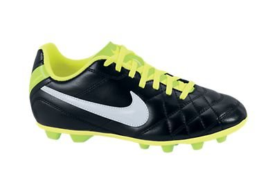 NIKE Junior Tiempo Rio FG-R (Black/White/Electric Green) (2.5y)