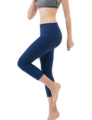 Tesla TM-FYC32-NVY_X-Large Yoga Pants High-Waist Tummy Control w Hidden Pocket FYC32