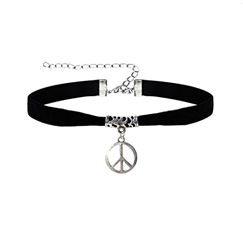 Likgus Peace Sign Choker Necklace,Classic Pendant Black Velvet Necklace Choker for Women ()