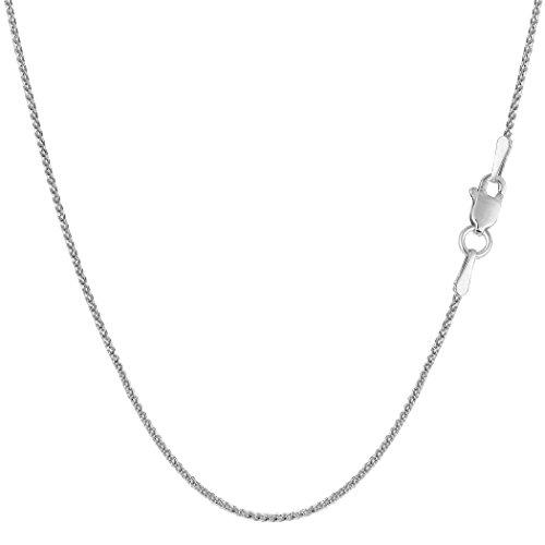 14k White Gold Round Diamond Cut Wheat Chain Necklace, 1.0mm, 20