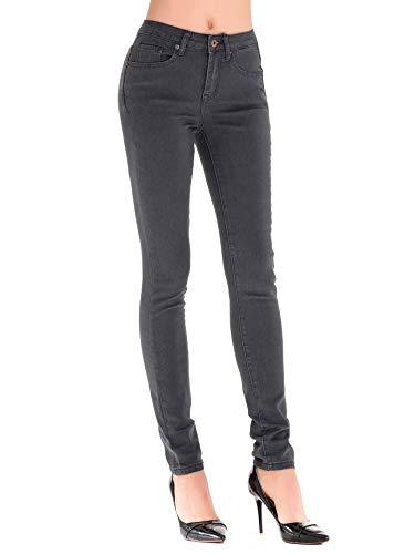 HONTOUTE Women's Classic Plain Jeans High Waist Skinny Denim Pants Solid Jeans Leggings (26, Grey)