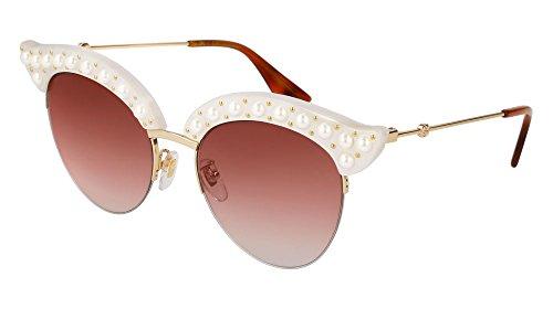 Gucci GG 0212S 003 White Plastic Fashion Sunglasses Red Gradient Lens