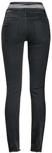 Noir Victim Jean Fashion Jean Maille en Noir Femme Empicements avec HpHaxP8n