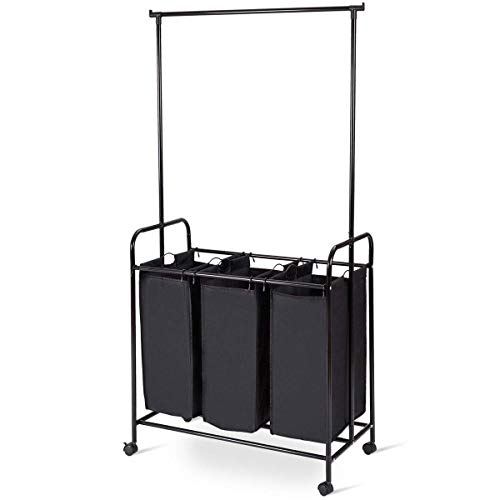(Tangkula 3-Bag Rolling Laundry Sorter, Heavy-Duty Laundry Hamper Sorter Cart with 3 Removable Large Bags, Wheels and Hanging Bar (Black) (Black))