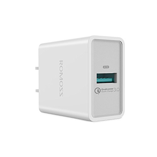 Quick Charge 3.0 USB Wall Charger, ROMOSS 18W QC 3.0 Portable Travel Adapter Fast Charging Compatible for SamsungS9/S8/Galaxy S7/S6/Edge/Plus, Note 5, LG G4, Nexus 6,iPhone XS/8/7,iPad and More- White