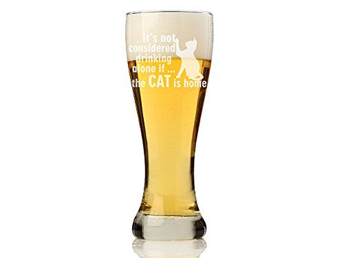 Chloe and Madison 'It's Not Considered Drinking Alone If the Cat Is Home' Pilsner Beer Glass, Set of 4