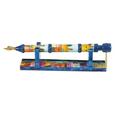 Yair Emanuel Hand Painted Wooden Yad - Torah Pointer With Stand Jerusalem  Design (TP-1)