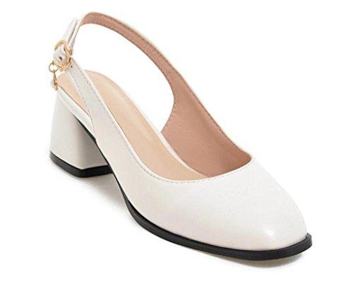 Zapatos Sandalias White 41 38 Hebillas 5cm XIE Verano Cuadrados de Diario Sandalias Trabajo 34 WHITE Compras 40 g5wOORCnqx