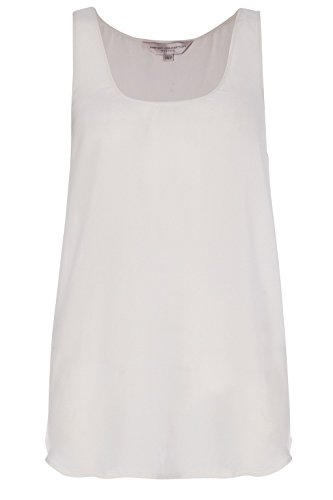 French Connection Woman's White 100% Silk Sleeveless Scoop Neck Blouse Top (French Connection Scoop Neck)