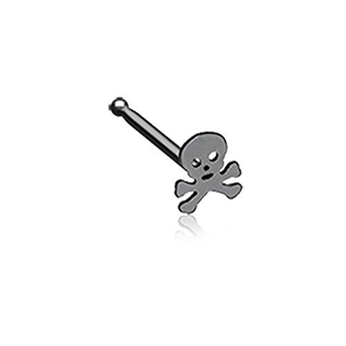 Gold Skull Labret - 20G Blackline Pirate Skull Nose Stud Ring