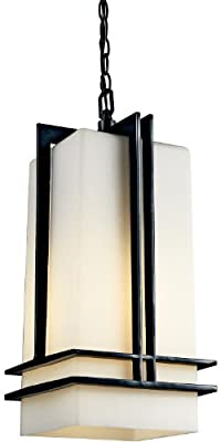 Kichler Lighting 49205BK Tremillo Light Outdoor Pendant, Black with Satin-Etched Cased Opal Glass