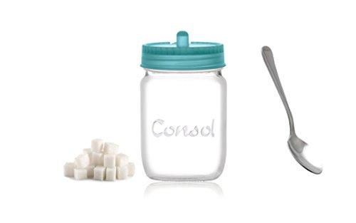 Consol Glass Sugar Jar Set - 8oz Sugar Bowl With Spoon & Lid (1, Blue)