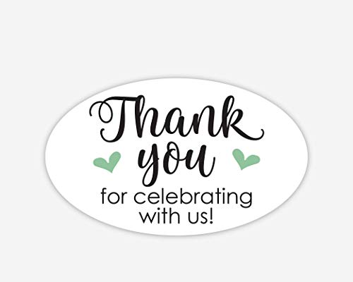 - Oval Thanks for Celebrating with Us Stickers, Wedding and Event Favor Labels (#265-MT-OV)