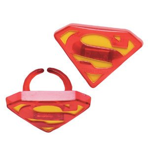 "Superman ""S"" Shield Party Cupcake Rings 12 Pack"