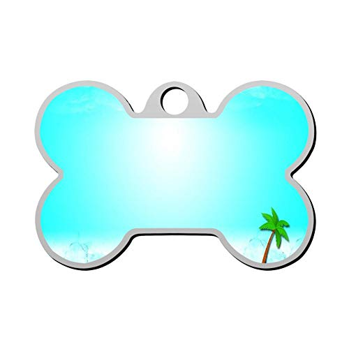 (GPZHM Customized Island Holiday Pet Tag - Bone Shaped Dog Tag & Cat Tags Pet ID Tag Personalized Custom Your Pet's Name & Number 3D Printing )