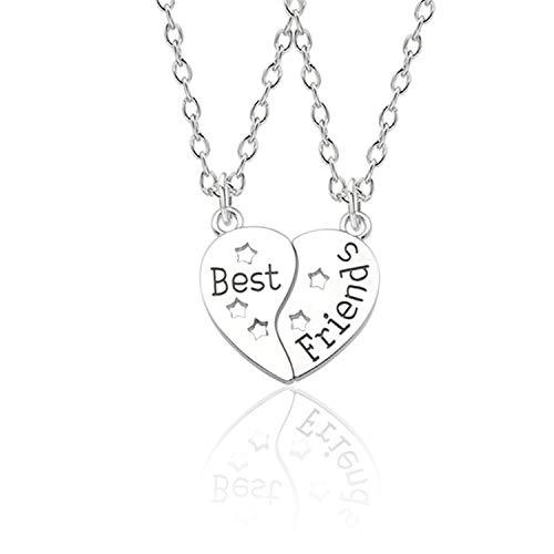(Trendy Best Friends Pendant Necklace Rainbow Broken Heart Necklace for Women Silver Chain BFF Friendship Jewel)