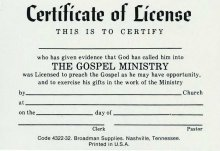 Certificate of License Minister-Billfold Size (pkg 10) (Package of 10)