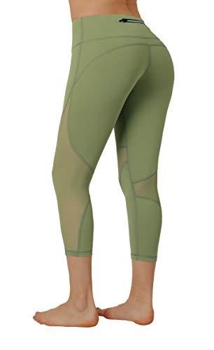 Women High Waist Yoga Leggings,Tummy Control Fitness Jogging Capri Workout Butt Lift 4 Way Stretch Pants Army Green