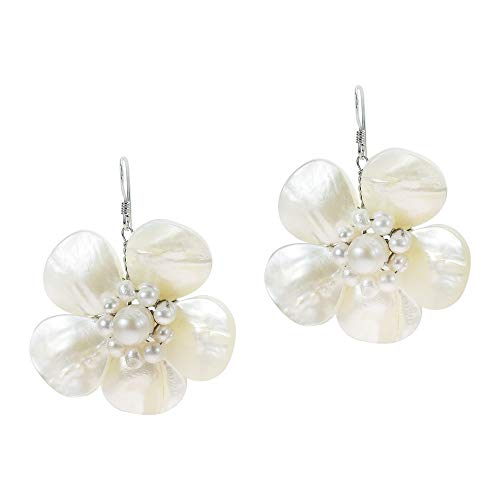 (White Mother of Pearl & Cultured Freshwater Pearl Floral .925 Sterling Silver Dangle Earrings)