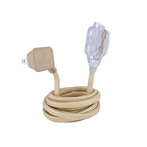 Globe Electric Designer Series 9ft Fabric Extension Cord, 3 Polarized Outlets, Right Angle Plug, 125 Volts, Gold, 22816