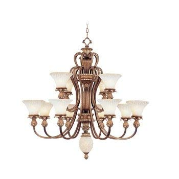 (Livex Lighting 8428-57 Savannah - Twelve Light Chandelier, Venetian Patina Finish with Vintage Carved Scavo Glass)