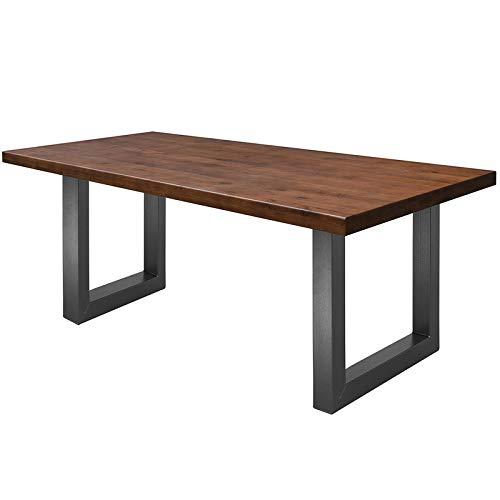COMIFORT Mesa de Comedor - Mueble para Salon Oficina Despacho Robusto y Moderno de Roble Macizo Color Chicago, Patas de Acero U-Forma Grafito (200x100 cm)