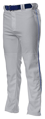 (A4 Drop Ship Youth Pro Style Open Bottom Baggy Cut Baseball Pant, Small, Grey/Royal)
