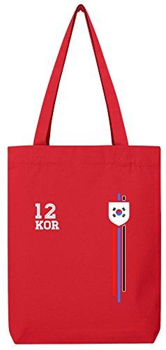 Soccer World Cup Fussball WM Fanfest Gruppen Premium Bio Baumwoll Tote Bag Jutebeutel Stanley Stella Streifen Trikot Korea Red