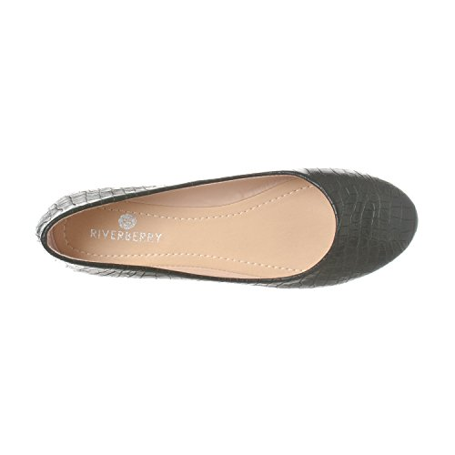Riverberry Damen Aria Basic Geschlossene Runde Zehe Ballett Flache Slip On Shoe Schwarzes Krok