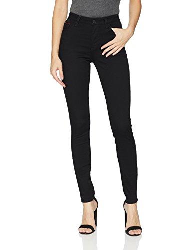 (Tommy Jeans Women's Skinny Santana High Waist Jeans, Dana Black Stretch, 26X30)