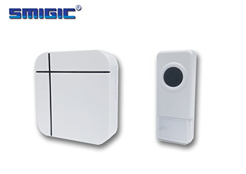 SMIGIC Wireless Doorbell Operating at over 500-feet Range with Over 50 Chimes, No Batteries Required for Receiver(White), Waterproof Transmitter Button, B Series Receiver