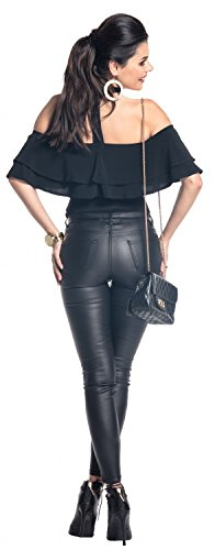 Zeta Ville - Body elástico sedoso diseño de doble capa gargantilla- mujer - 580z Negro