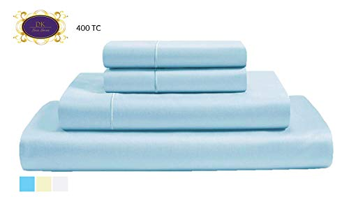 DK Luxe Linens 400 Thread Count Cotton Sheet Fits Mattress Up to 15'' Deep Pocket, Sateen Weave, Sky Blue, Twin Size, 3-Pieces Set, Marrow Hem, Hotel -