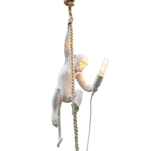 Monkey Light - IJ INJUICY Loft Vintage Resin Hemp Rope Monkey Pendant Light Fixture Industrial Retro E26 Edison Ceiling Pendant Lamp for Dining Living Room Children's Bedroom Bar Cafe