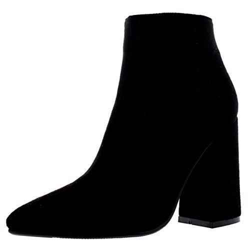 Womens Block Heel Chelsea Biker Pointed Toe Fashion Autumn Ankle Boots Black
