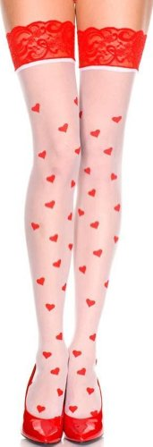 ToBeInStyle Women's Two Toned Hearts Print Wide Top Thigh Hi (Heart Thigh Highs)