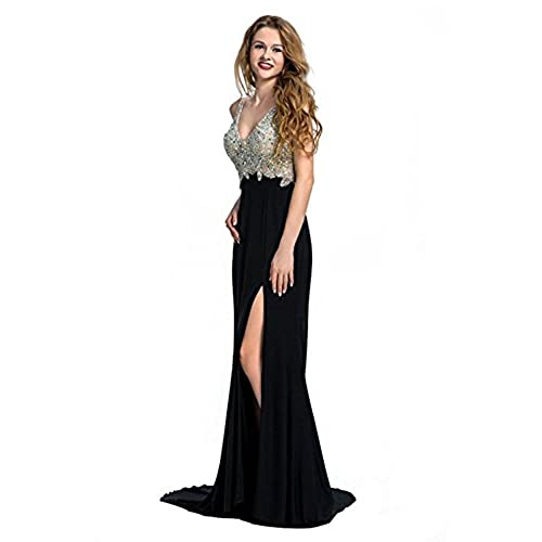 Miss Chics Women Side Slit V-neck Backless Beaded Prom Dresses Evening Dresses(8,Black)