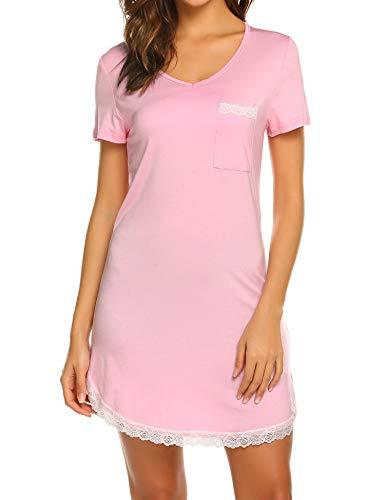 Ekouaer Womens Nightgown Cotton Sleep Shirt Dress Casual Pocket Short Sleeve Sleepwear with Lace