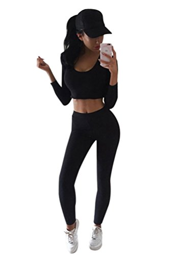 - Moxeay Women Sexy Tracksuit Hoodies Sweatshirt Pants Sets Sport Casual Suit (Small, Black)