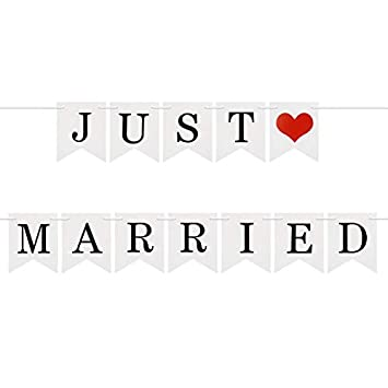 6e38c303e7b6 Image Unavailable. Image not available for. Color   quot JUST MARRIED quot   Printed Card Paper Wedding Banner Bunting Photo Booth Garland Props Décor