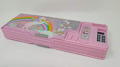 Hot Focus Unicorn Multifunction Pencil Case,Pencil Box for Girls. 2 Compartments Unique Stationery Set w/z Pop Out Calculator and Pencil Sharpener. Best Back to School Gift Set for Kids, Girls & Teen.