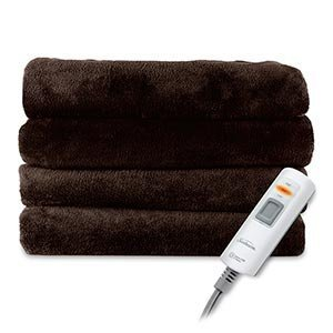 Sunbeam Luxurious Velvet Plush Heated Throw Blanket with 3 Heat Settings Digital Control and Auto-off - Dark Brown