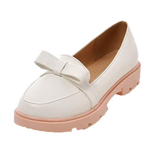 Tirare AgooLar Ballet Tacco Punta Basso Flats Donna Tonda GMMDA011042 Puro Bianco qrIrHw